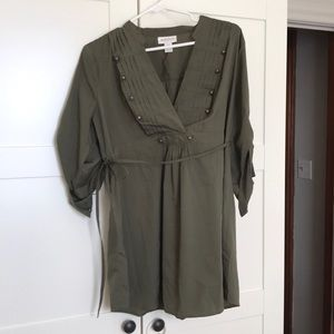 Army green maternity top with brass details